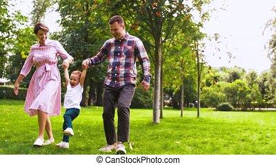 amusement, avoir, été, famille, parc, heureux