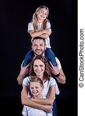 amusement, avoir, famille, heureux