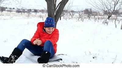 amusement, avoir, parc, hiver, enfant