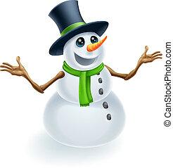 amusement, bonhomme de neige, noël