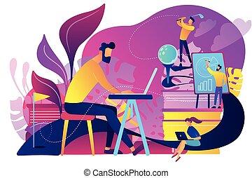amusement, bureau, concept, illustration., vecteur