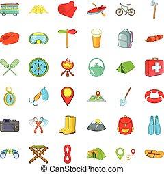 amusement, camping, icônes, ensemble, dessin animé, style