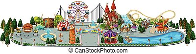 amusement, carte, parc, amusement
