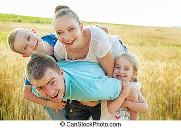 amusement, champ, blé, avoir, famille