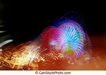 Amusement Chaos - Distorted ferris wheel and other amusement...