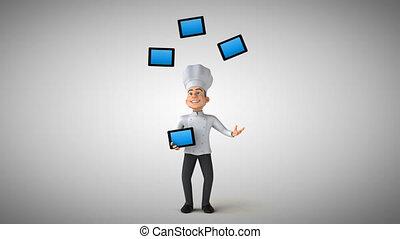 amusement, chef cuistot, animation, -, 3d