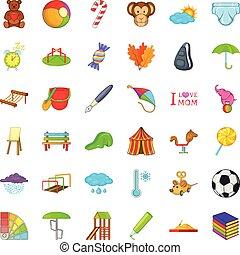 amusement, chose, icônes, ensemble, dessin animé, style