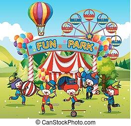 amusement, clowns, parc, heureux
