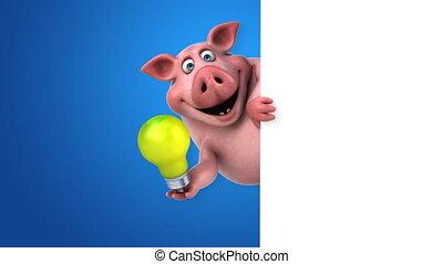 amusement, cochon, animation, -, 3d