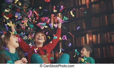 amusement, confetti, avoir, famille
