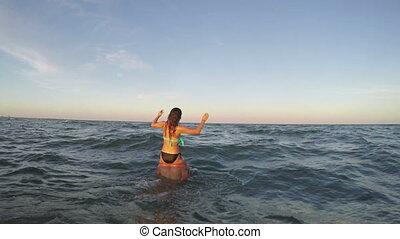 amusement, couple, avoir, mer