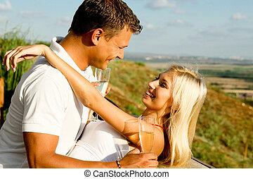 amusement, couple, jeune, avoir