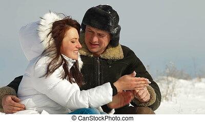 amusement, couple, neige, avoir