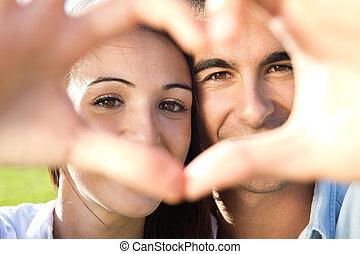 amusement, couple, parc, jeune, avoir