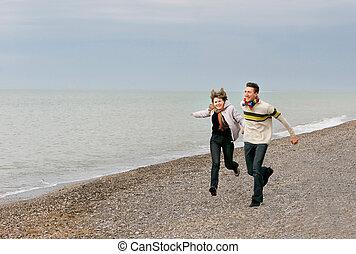 amusement, couple, plage, jeune, avoir