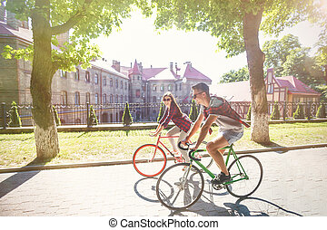 amusement, couple, vélo, jeune, avoir