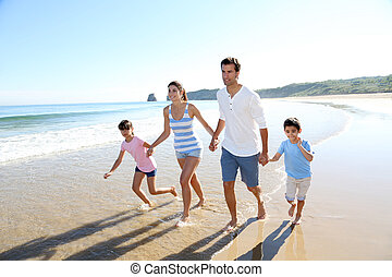 amusement, courant, plage, avoir, famille