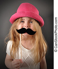 amusement, déguisement, moustache, enfant