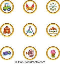 Amusement day icon set, cartoon style