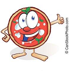 amusement, dessin animé, pizza