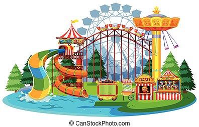 amusement, eau, parc thème