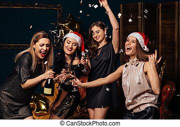 amusement, fête, noël, avoir, femmes