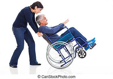 amusement, fauteuil roulant, couple, avoir, mûrir