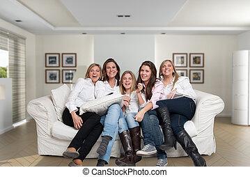 amusement, femme, famille