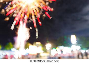 amusement, feud'artifice, carnaval, foire, nuit