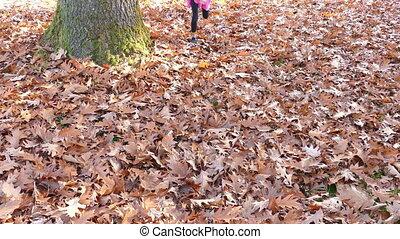 amusement, feuilles, a, girl, jouer
