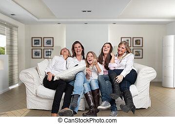 amusement, filles, famille