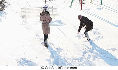 amusement, filles, neige, avoir
