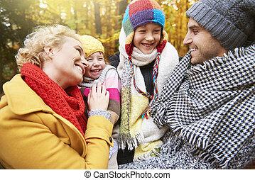 amusement, forêt, famille, avoir