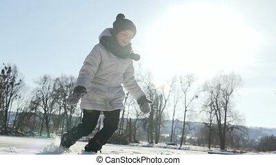 amusement, girl, avoir, neige, jeune