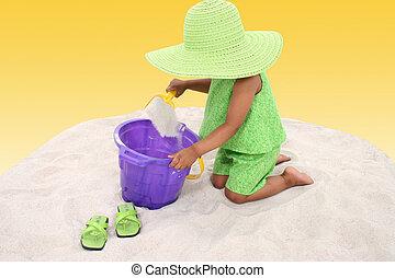 amusement, girl, sable, enfant