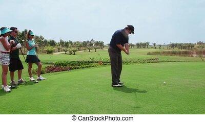 amusement, golf, amis, groupe, jouer