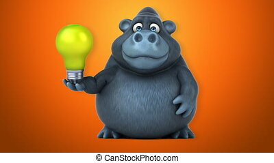 amusement, gorille, animation, -, 3d
