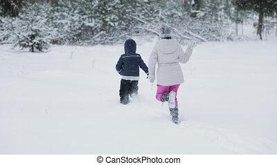 amusement, gosses, avoir, neige