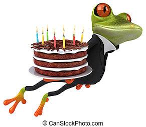 amusement, grenouille, à, a, gâteau anniversaire, -, 3d, illustration