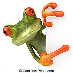 amusement, grenouille, à, a, signe blanc