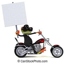 amusement, grenouille, sur, a, motocyclette, -, 3d, illustration