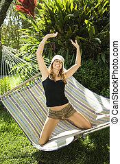 amusement, hammock., femme, avoir