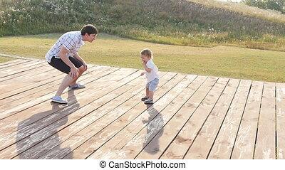 amusement, heureux, avoir, famille, dehors