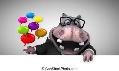 amusement, hippopotame, animation, -, 3d