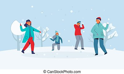 amusement, hiver, gens, lancement, snowball., filles, illustration, jouer, snow., garçons, vecteur, caractères, snowballs., joyfull, avoir