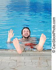 amusement, homme, piscine, natation
