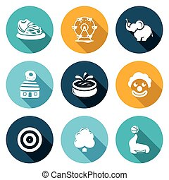 Amusement Icons Set. Vector Illustration. - The bumper cars,...