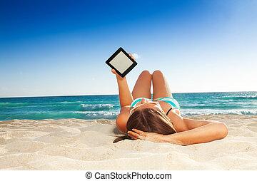 amusement, lecture, plage
