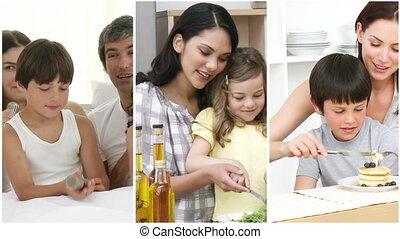 amusement, maison, avoir, famille, heureux