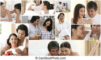 amusement, maison, couple, jeune, avoir